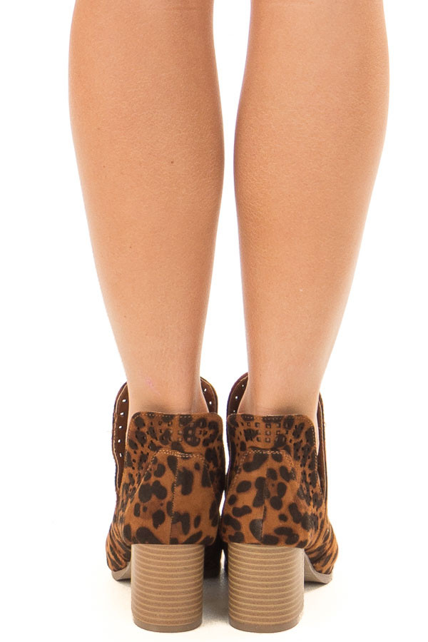 Leopard Print Faux Suede Cut Out Bootie with Open Toes back