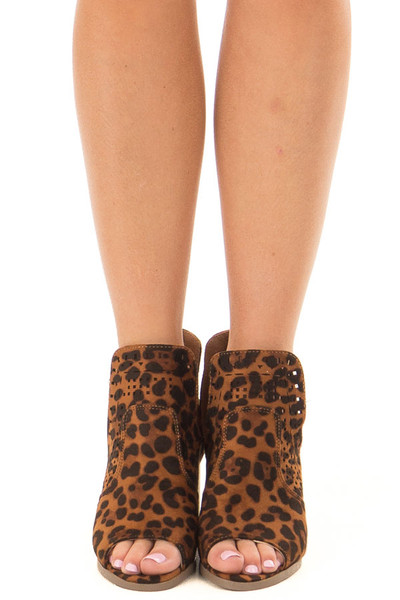 Leopard Print Faux Suede Cut Out Bootie with Open Toes front