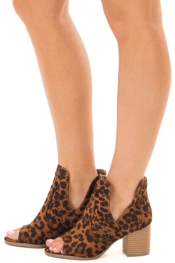 Leopard Print Faux Suede Cut Out Bootie with Open Toes side