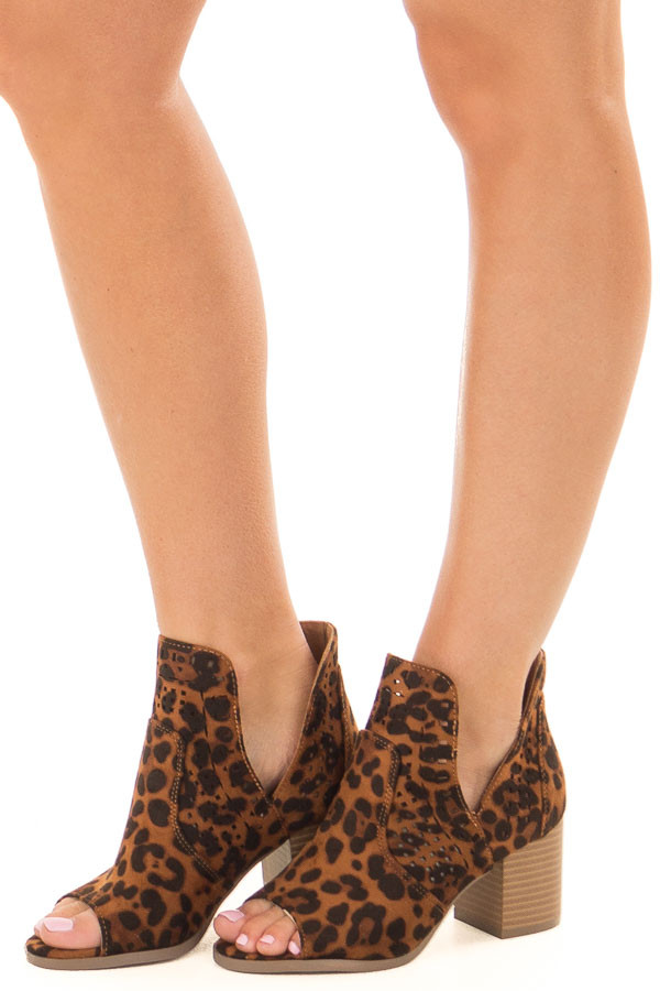 Leopard Print Faux Suede Cut Out Bootie with Open Toes front side