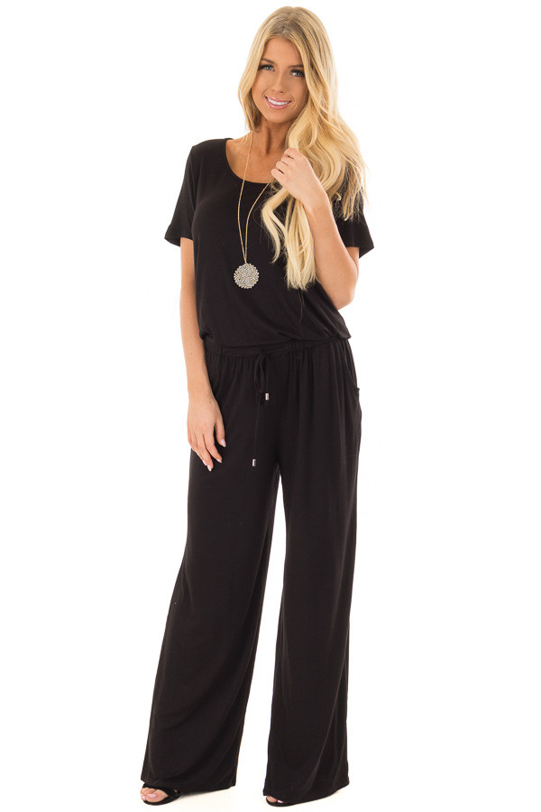 Black Short Sleeve Jumpsuit with Waist Drawstring front full body