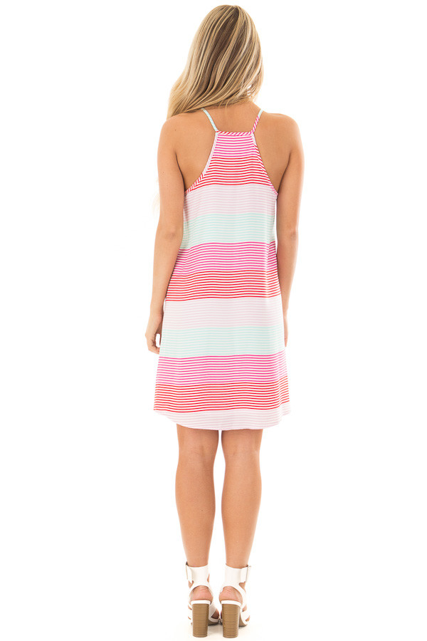 Red Pink and Mint Striped Sleeveless Dress  back full body