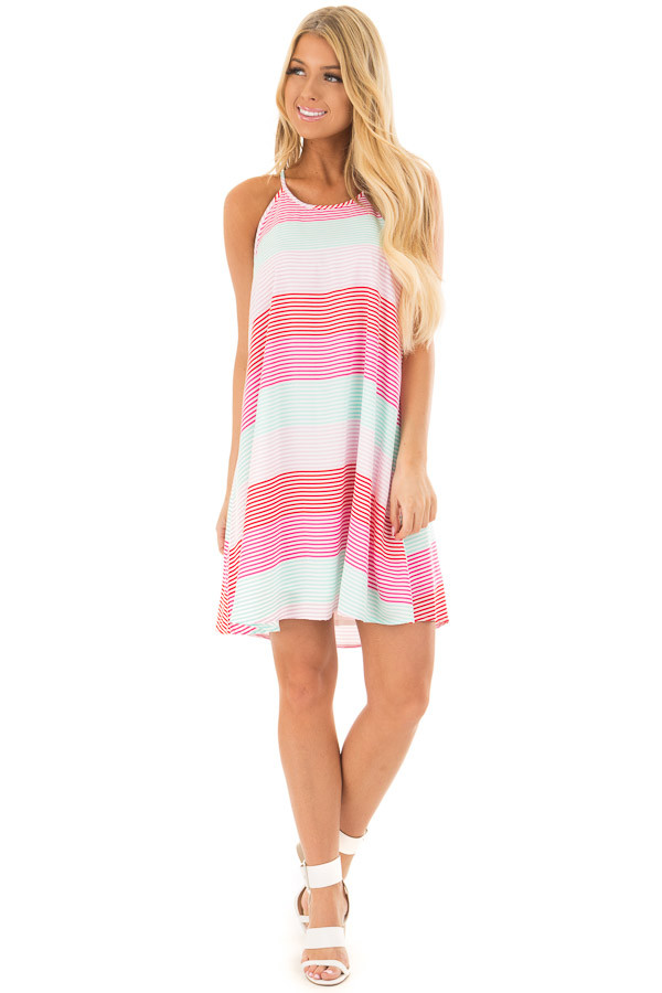 Red Pink and Mint Striped Sleeveless Dress  front full body