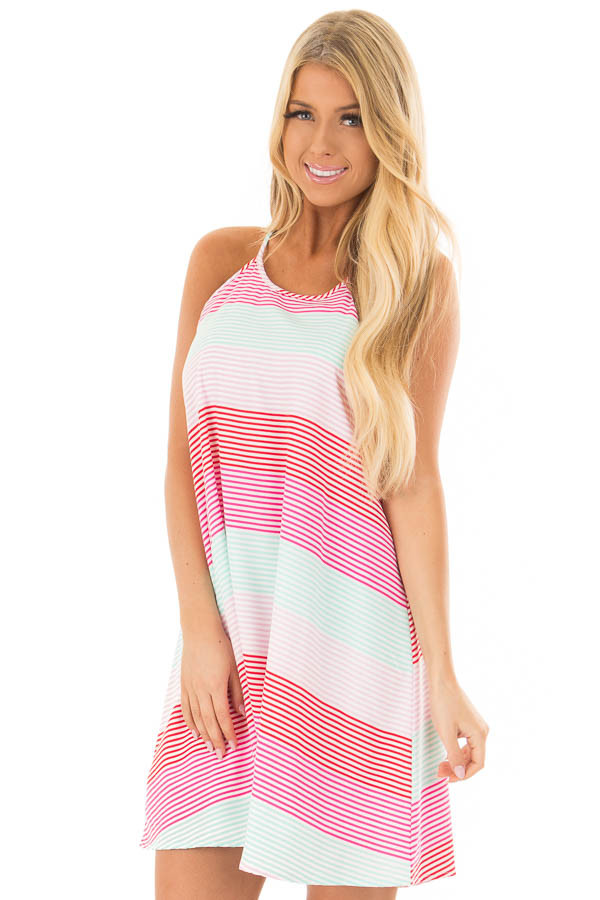 Red Pink and Mint Striped Sleeveless Dress  front closeup