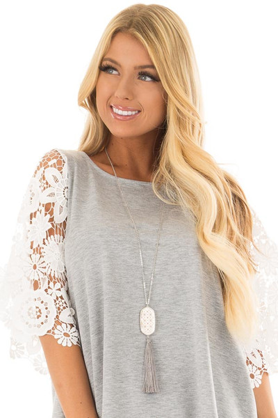 Cloud Grey Tassel Necklace with Intricate Pendant