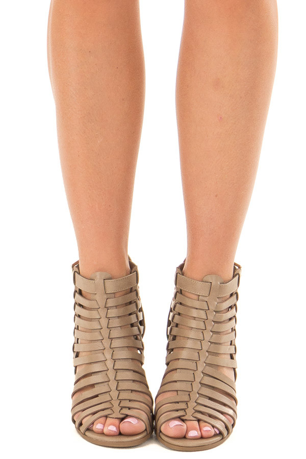 Taupe Strappy Faux Leather Open Toe Bootie front