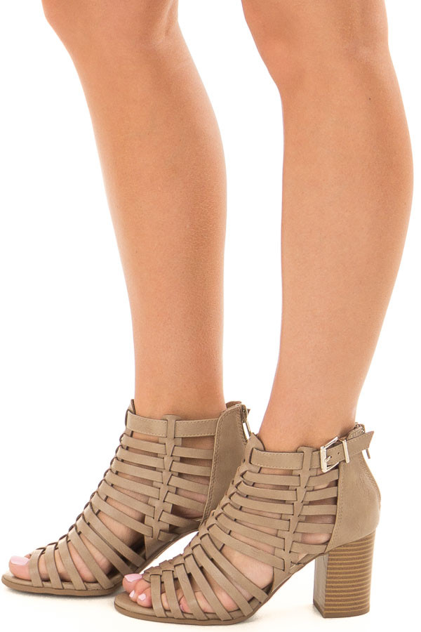 Taupe Strappy Faux Leather Open Toe Bootie side