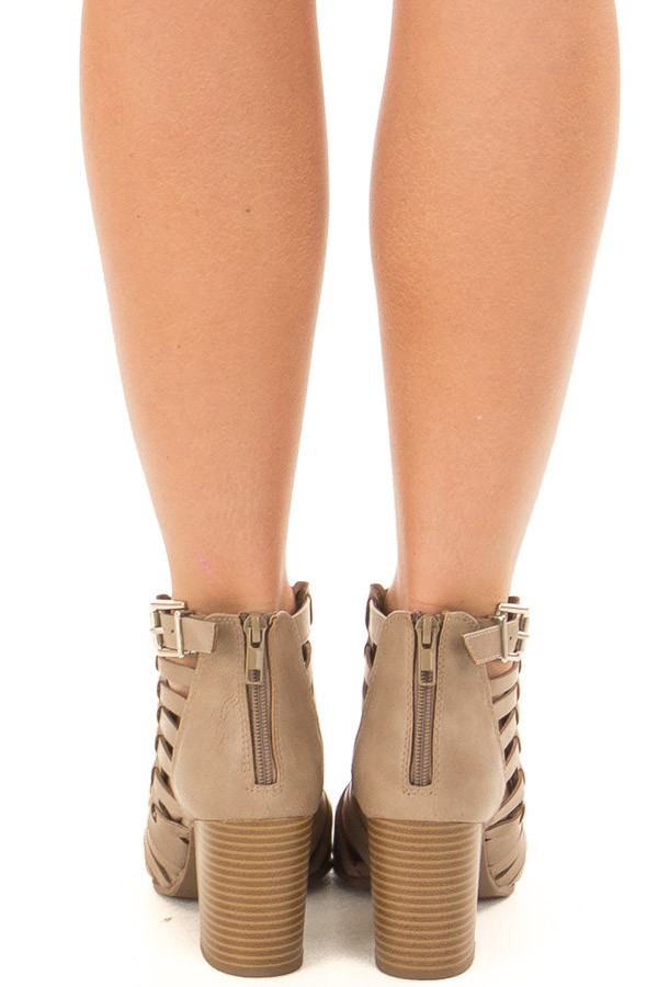 Taupe Strappy Faux Leather Open Toe Bootie back