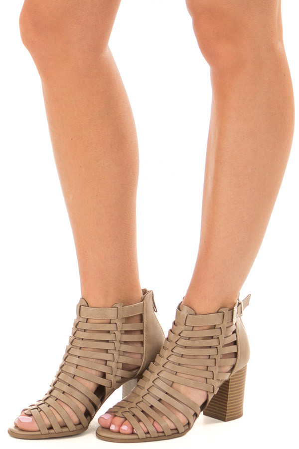 Taupe Strappy Faux Leather Open Toe Bootie front side