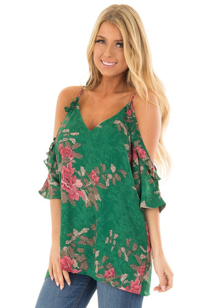 Emerald Cold Shoulder V Neck Floral Print Top front closeup