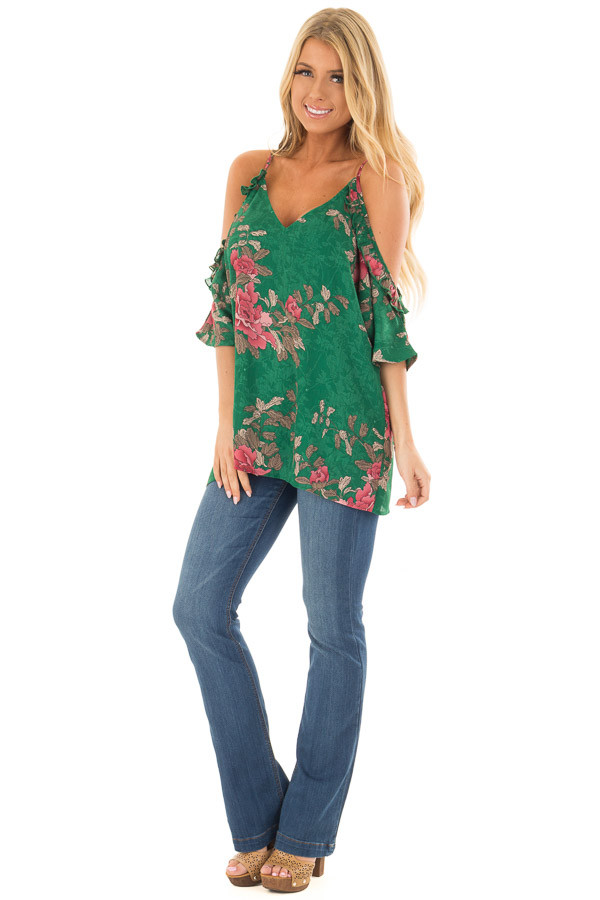 Emerald Cold Shoulder V Neck Floral Print Top front full body