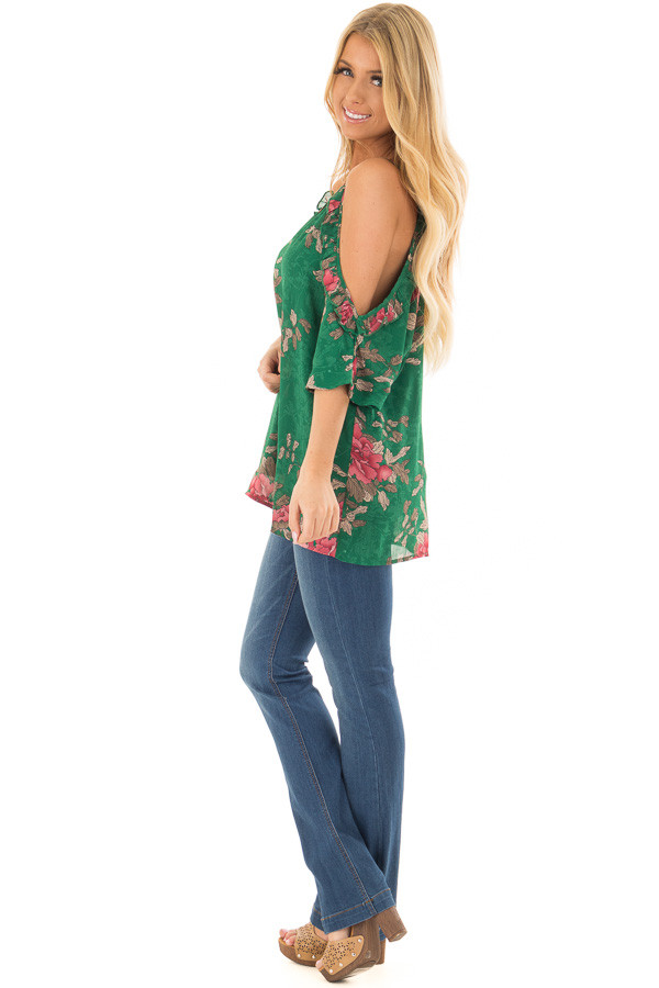 Emerald Cold Shoulder V Neck Floral Print Top side full body