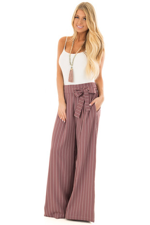 Mauve Pinstripe Wide Leg Pants with Waist Tie front full body