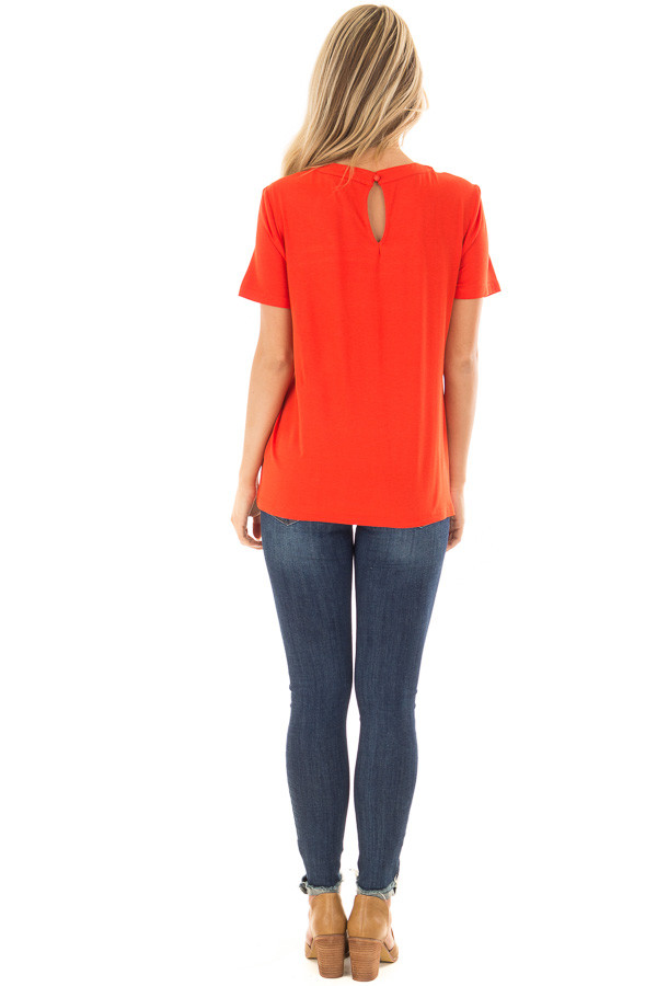 Tomato Red Tee Shirt with Strappy Cut Out Neckline back full body