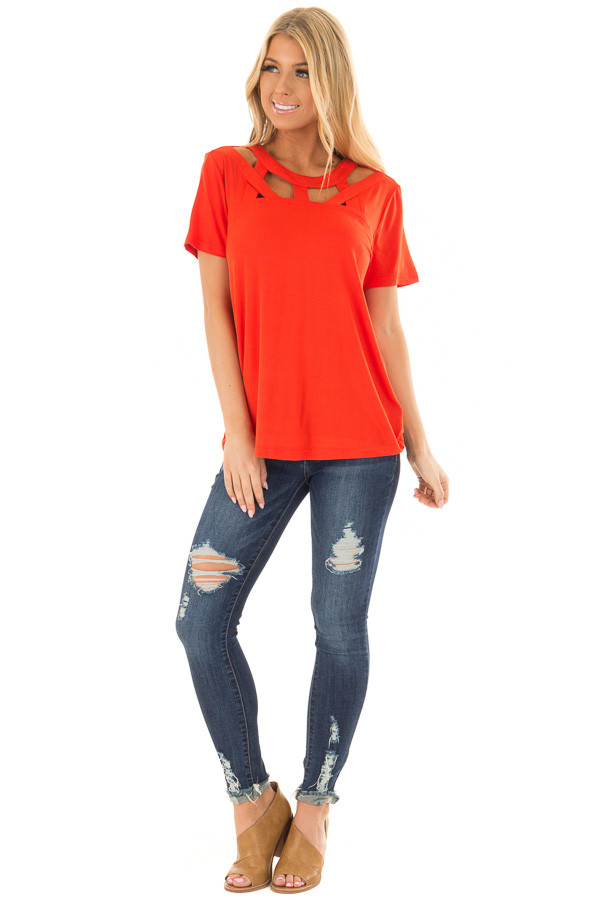 Tomato Red Tee Shirt with Strappy Cut Out Neckline front full body