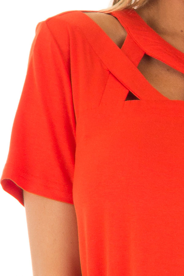 Tomato Red Tee Shirt with Strappy Cut Out Neckline front detail