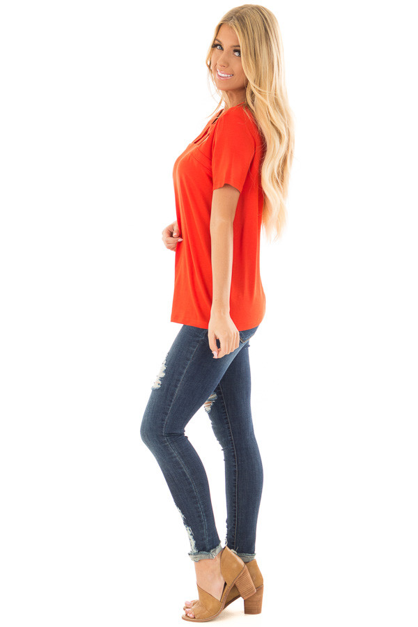 Tomato Red Tee Shirt with Strappy Cut Out Neckline side full body