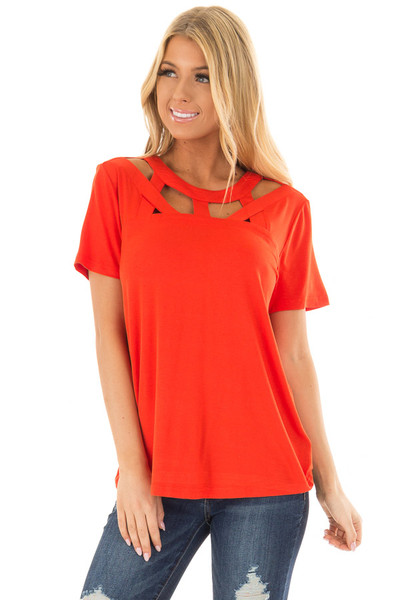 Tomato Red Tee Shirt with Strappy Cut Out Neckline front closeup