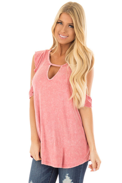 Berry Mineral Wash Cold Shoulder Top with Chest Cutout front closeup