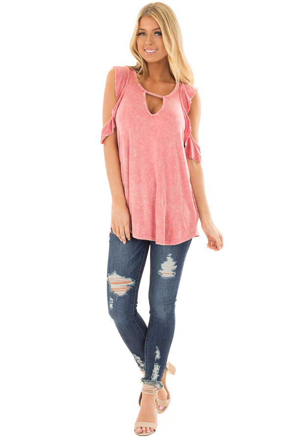 Berry Mineral Wash Cold Shoulder Top with Chest Cutout front full body
