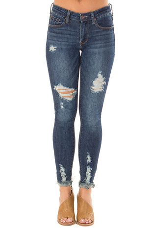 Dark Wash Distressed Skinny Jeans with Cuffed Ankle front