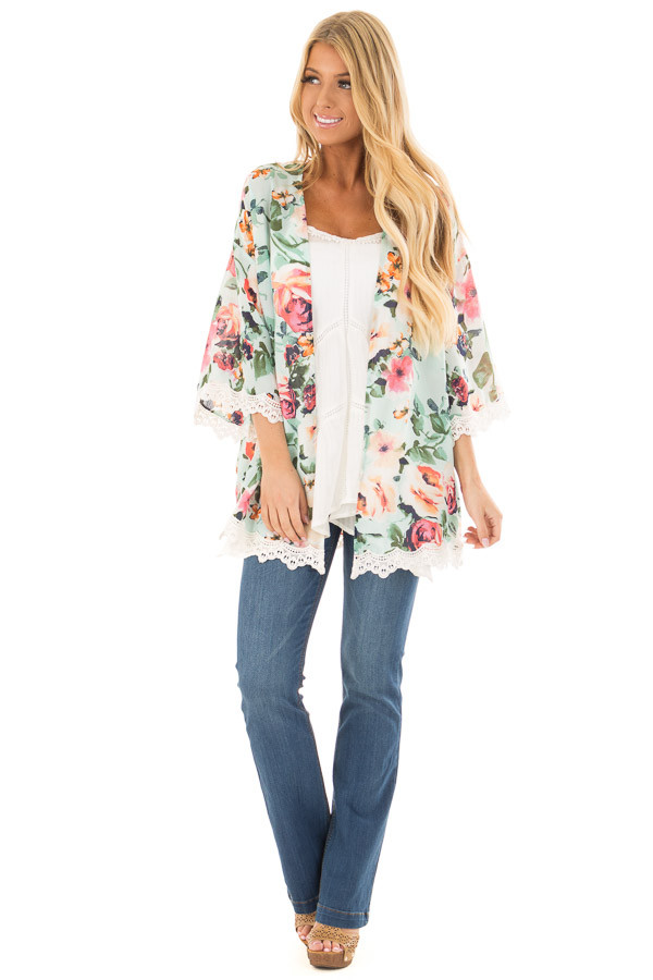 Mint Floral Kimono with Ivory Crochet Trim front full body