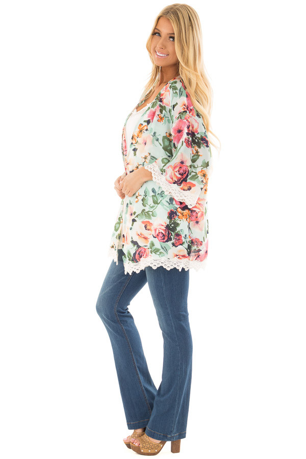 Mint Floral Kimono with Ivory Crochet Trim side full body
