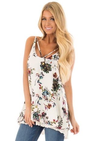 Cream Floral Sleeveless Top with Lace Trim front closeup