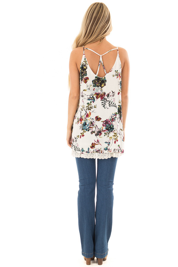 Cream Floral Sleeveless Top with Lace Trim back full body