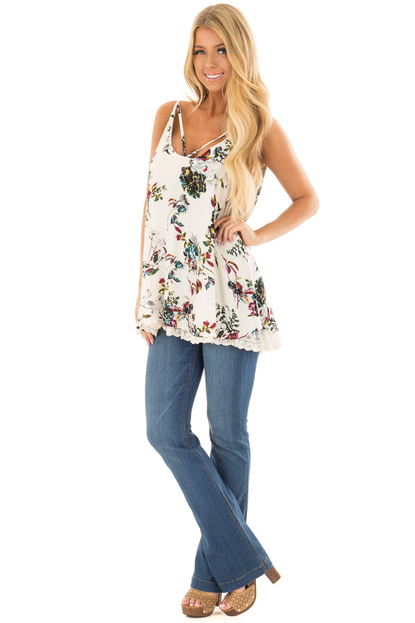 Cream Floral Sleeveless Top with Lace Trim front full body