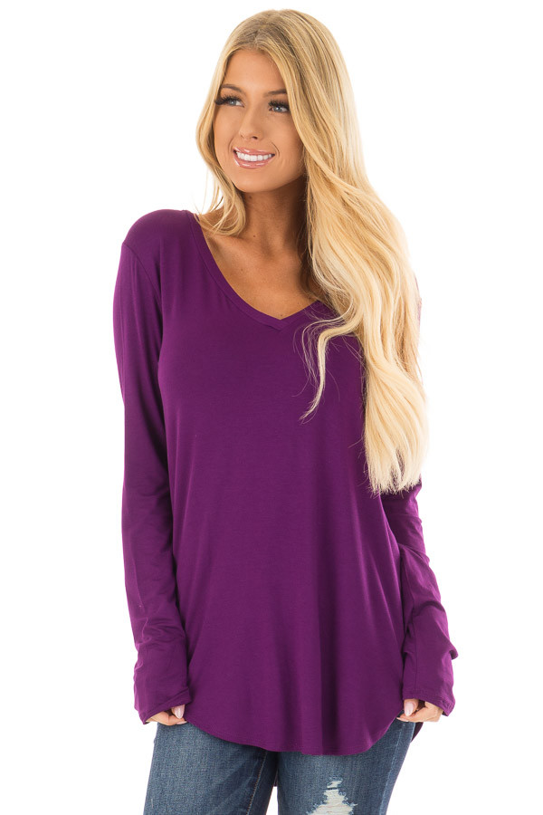 Purple Long Sleeve V Neck Top front closeup