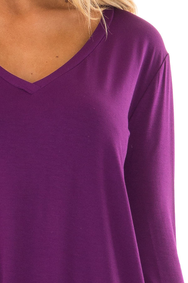 Purple Long Sleeve V Neck Top front detail