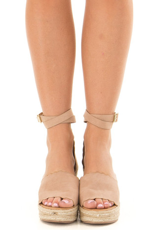 Warm Taupe Faux Suede Open Toe Wedge front