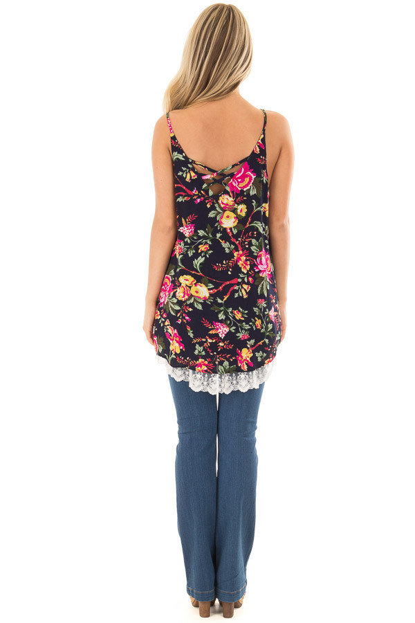 Navy Floral Sleeveless Top with Lace Hem back full body