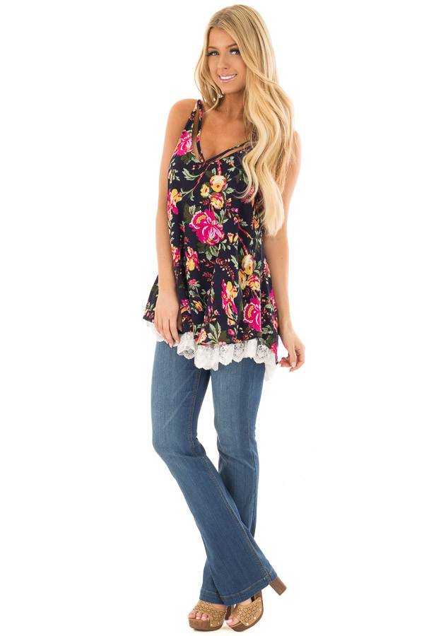 Navy Floral Sleeveless Top with Lace Hem front full body