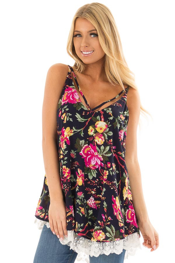 Navy Floral Sleeveless Top with Lace Hem front closeup
