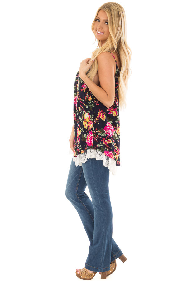 Navy Floral Sleeveless Top with Lace Hem side full body