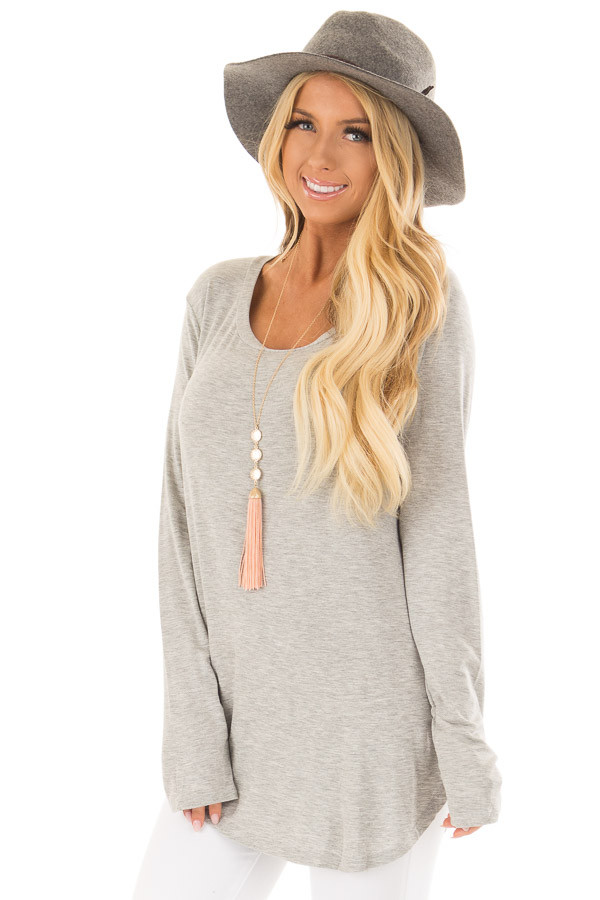 Heather Grey Long Sleeve Round Neck Top front closeup