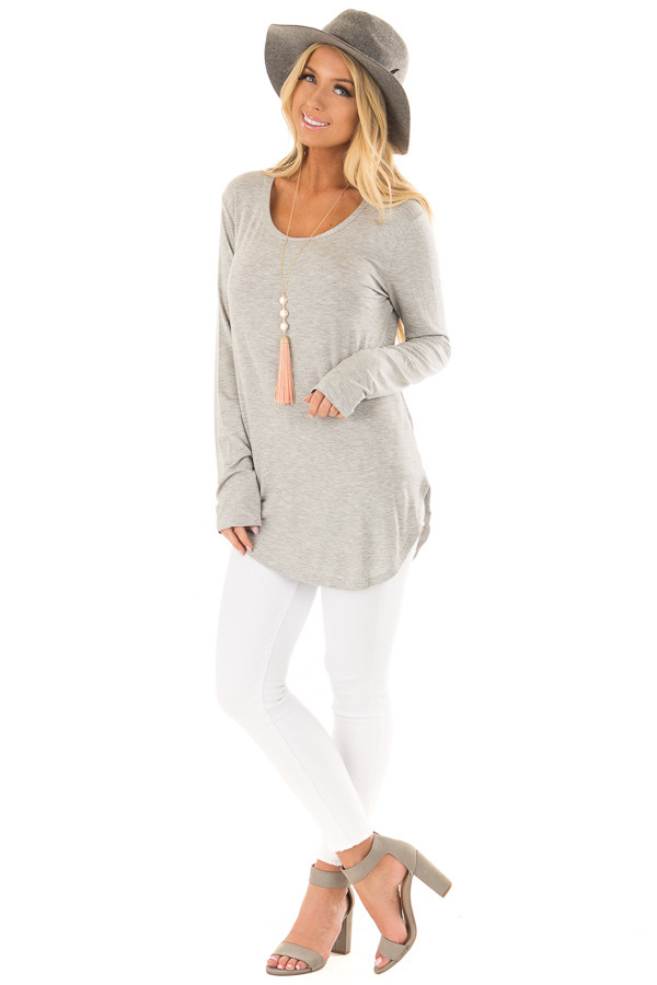 Heather Grey Long Sleeve Round Neck Top front full body