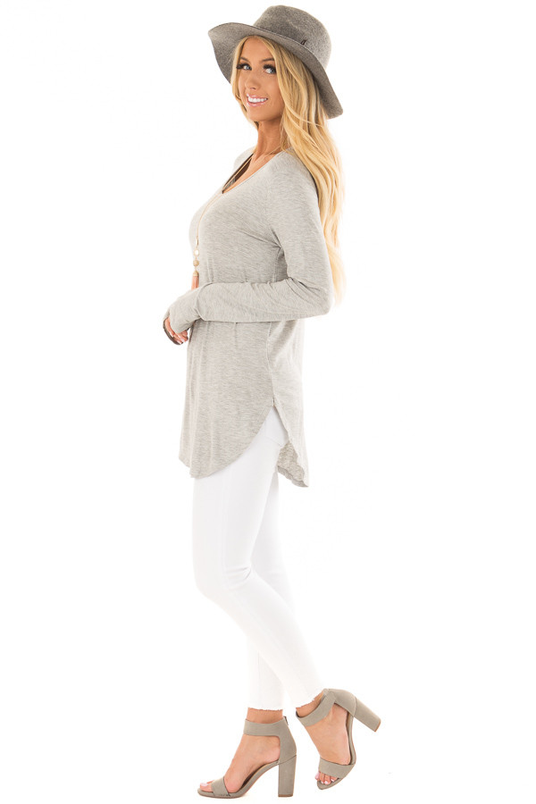 Heather Grey Long Sleeve Round Neck Top side full body