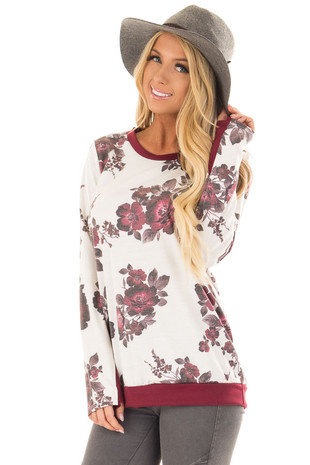 Ivory Floral Print Top with Thumb Holes front closeup