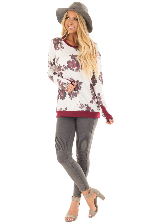 Ivory Floral Print Top with Thumb Holes front full body