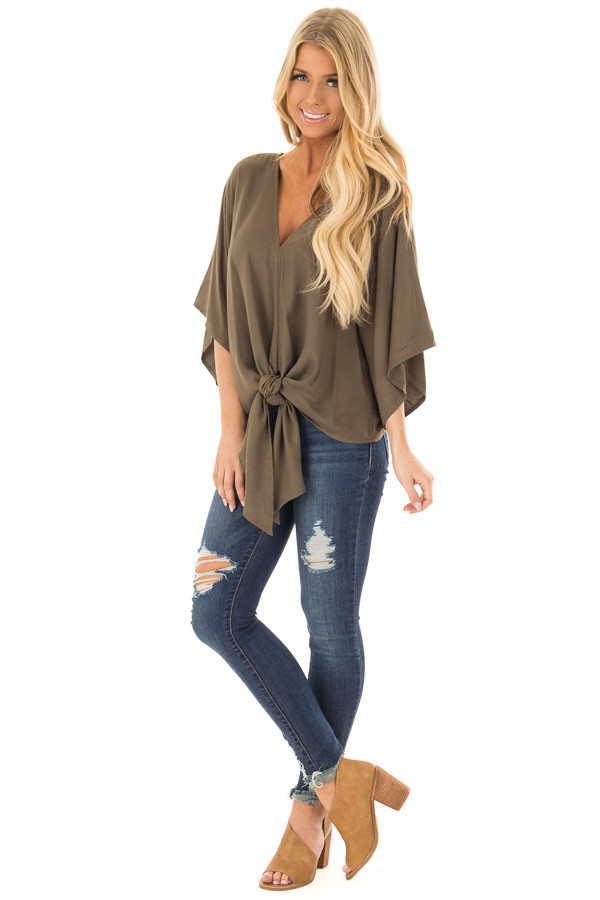 Olive Oversized Comfy Top with Front Tie front full body