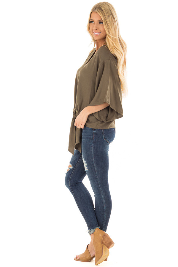 Olive Oversized Comfy Top with Front Tie side full body