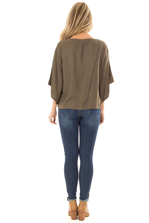 Olive Oversized Comfy Top with Front Tie back full body
