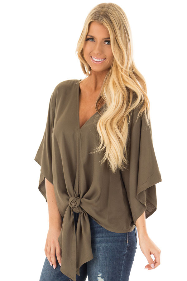 Olive Oversized Comfy Top with Front Tie front closeup