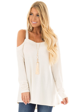 Vanilla Cold Shoulder Long Sleeve Top front closeup