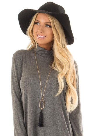 Black Tassel Necklace with Intricate Pendant front