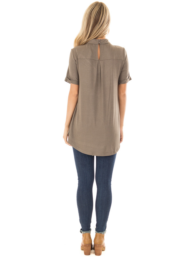 Olive High Neck Top with Caged Neckline back full body