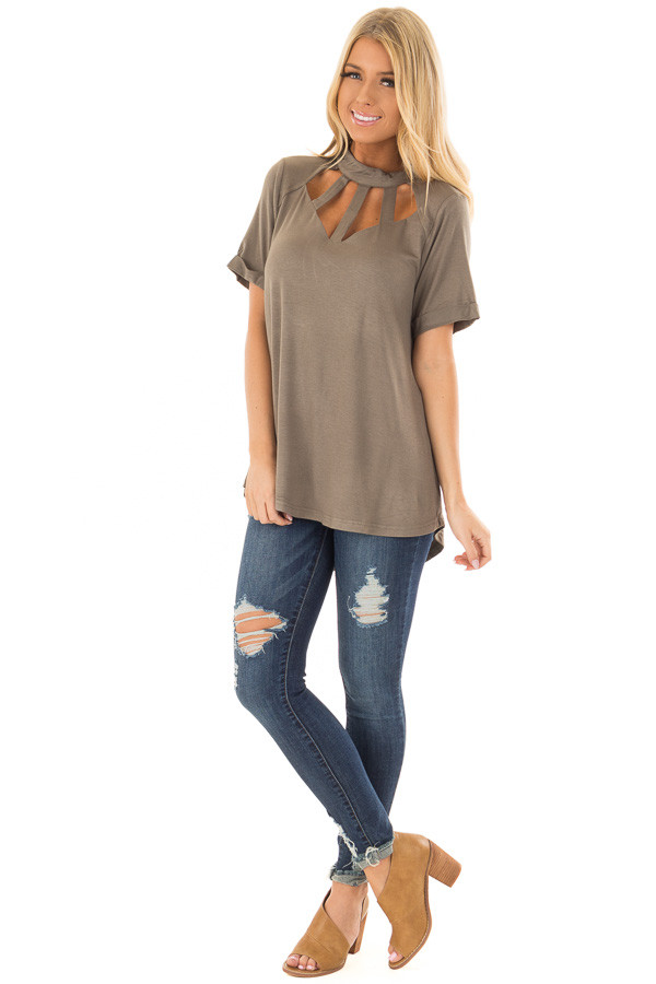 Olive High Neck Top with Caged Neckline front full body